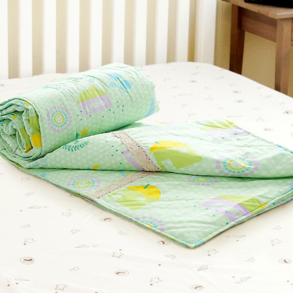 米夢家居-原創夢想家園系列-台灣製造100%精梳純棉兩用被套-青春綠-雙人