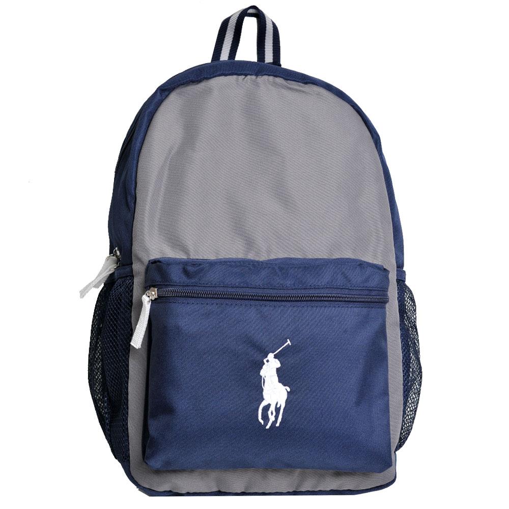 POLO Ralph Lauren 雙拼色品牌白色小馬LOGO刺繡尼龍後背包(深藍/灰)