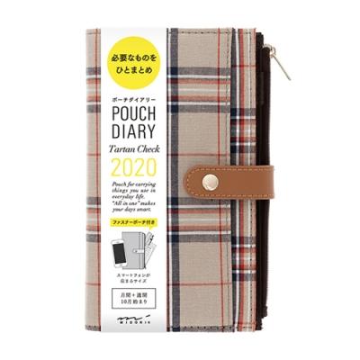 MIDORI Pouch Diary 2020手帳收納包-花呢格紋卡其