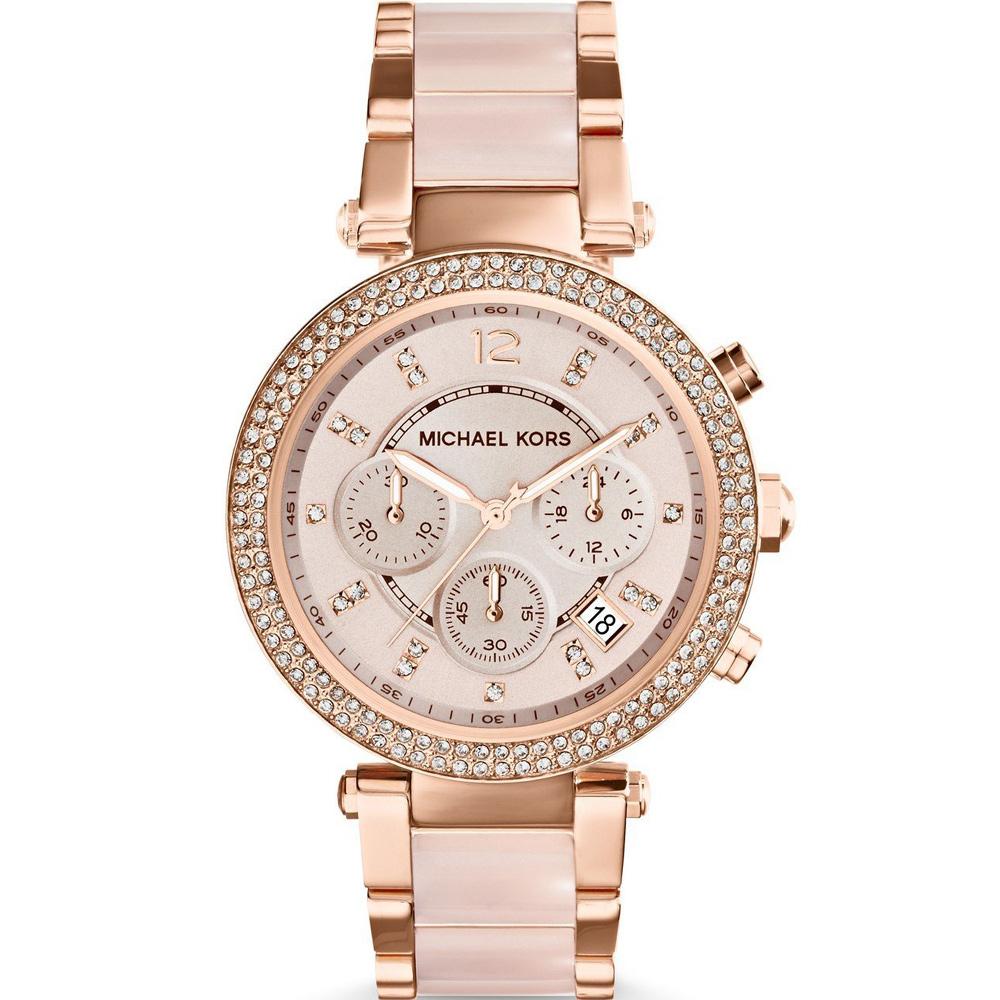 Michael Kors 美式璀璨晶鑽計時腕錶(MK5896)粉