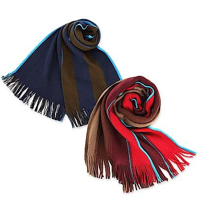 時時樂 Paul Smith 彩色漸層直條紋棉質圍巾-2色任選