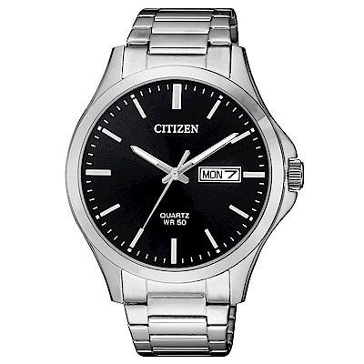 CITIZEN 典藏時光夜光石英腕錶(BF2001-80E)-黑x40mm