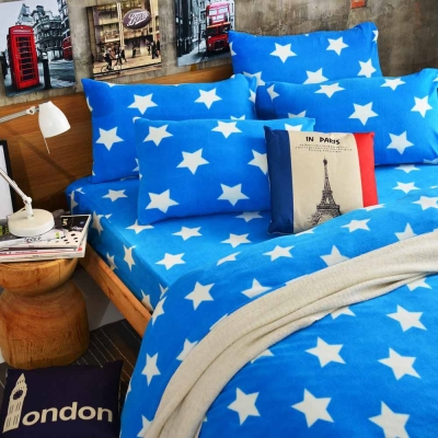 Ania Casa迷戀星藍 加大四件式 搖粒絨 台灣製 床包被套四件組