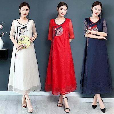 中國風復古氣質圓領洋裝M-4XL(共三色)REKO