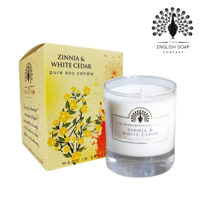 The English Soap Company 綴花卉香氛蠟燭-雪松百日草 170g