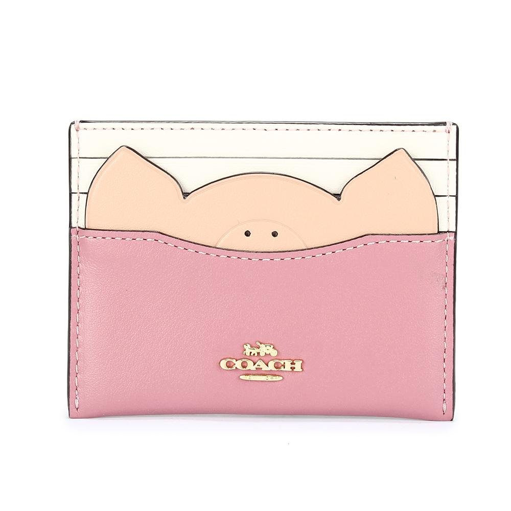 COACH  馬車金屬LOGO小豬造型拼接皮革證件夾-白/玫瑰粉色