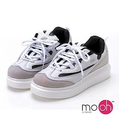 mo.oh-透氣拚色厚底增高運動鞋-白色