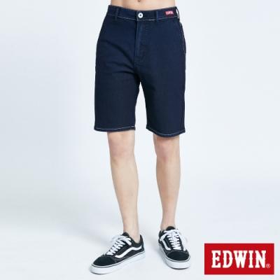 EDWIN JERSEYS 迦績 PK EJ2 透氣涼感紅標 牛仔短褲-男-原藍色