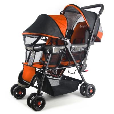 YipBaby 新款EX雙人手推車-橘