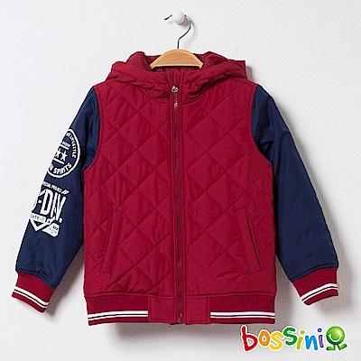 bossini男童-連帽舖棉外套01暗紅