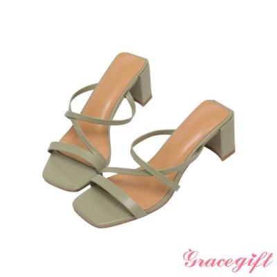 Grace gift-Z字細帶高跟涼拖鞋 淺綠