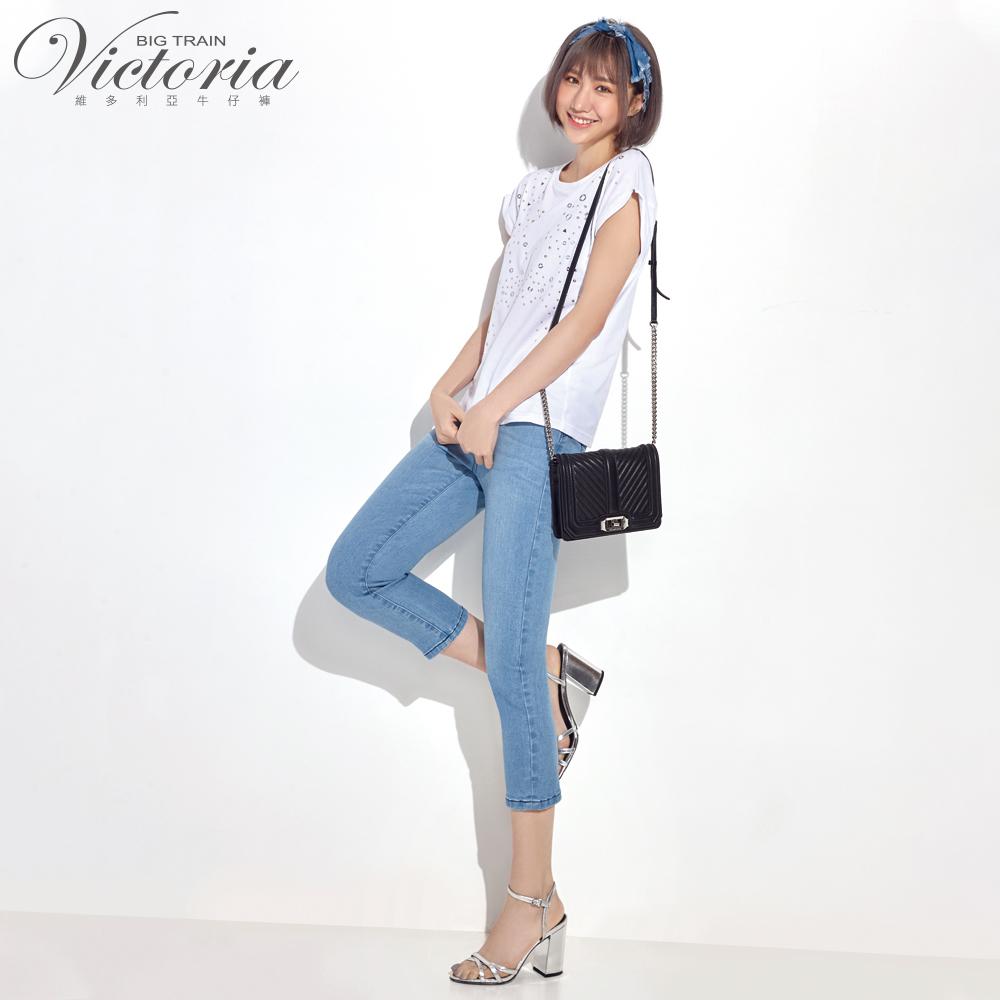 Victoria 特彈中高腰鑲鑽七分褲-女-淺藍