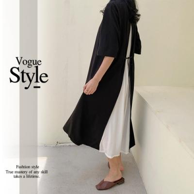 2F韓衣-圓領拼接綁繩造型洋裝-黑拼白(F)