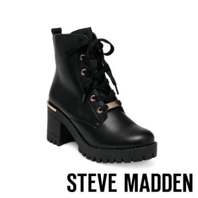 STEVE MADDEN-BECOME 金屬簡約綁帶粗跟短靴-黑色