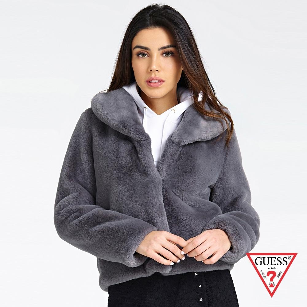 GUESS-女裝-親膚舒適絨毛外套-深灰 原價3990