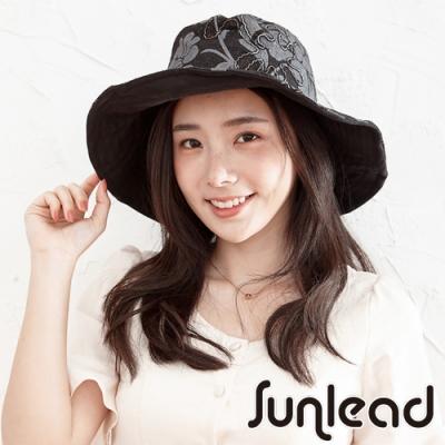 Sunlead 雙面雙色可戴。可塑型寬緣抗UV防曬軟帽 (黑色/花朵)