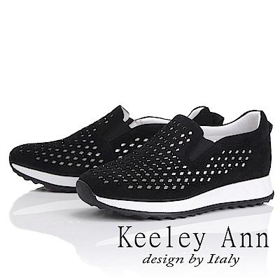Keeley Ann 我的日常生活 全真皮素面水鑽網孔休閒鞋(黑色-Ann系列)