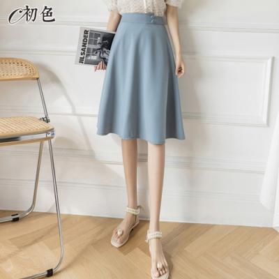 初色  高腰顯瘦A字半身裙-共3色-(M-2XL可選)