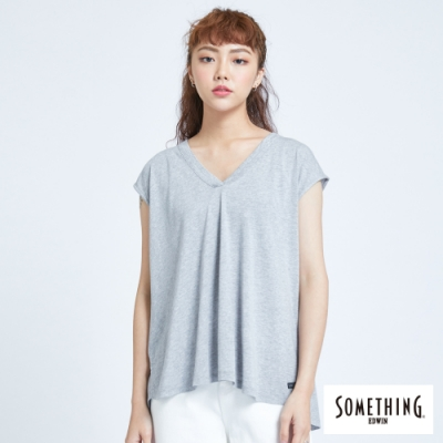 SOMETHING 清新休閒 V領連袖T恤-女-麻灰色