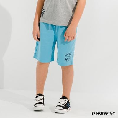 Hang Ten-男童-REGULAR FIT有機棉鬆緊休閒短褲-藍色