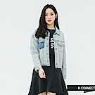 H:CONNECT 韓國品牌 女裝-造型口袋不收邊牛仔外套-藍