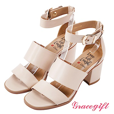 Grace gift X Kerina妞妞-雙寬帶金屬釦繞踝粗跟鞋 杏