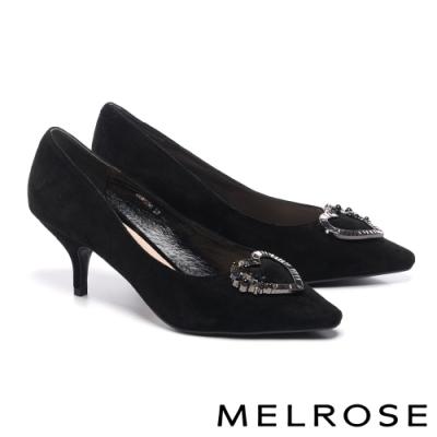 高跟鞋 MELROSE 時尚別致珍珠晶鑽愛心飾釦尖頭高跟鞋-黑