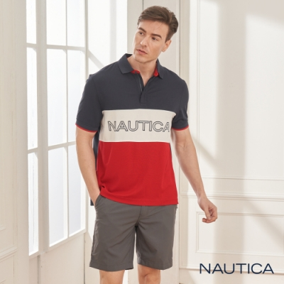 Nautica撞色拼接吸濕快乾短袖POLO衫-紅藍