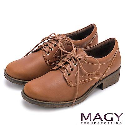 MAGY 復古潮流 經典綁帶牛皮低跟鞋-棕色