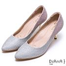 DIANA璀燦漸層鑽石紋金屬高跟鞋(婚鞋推薦)-漫步雲端厚切焦糖美人-銀粉