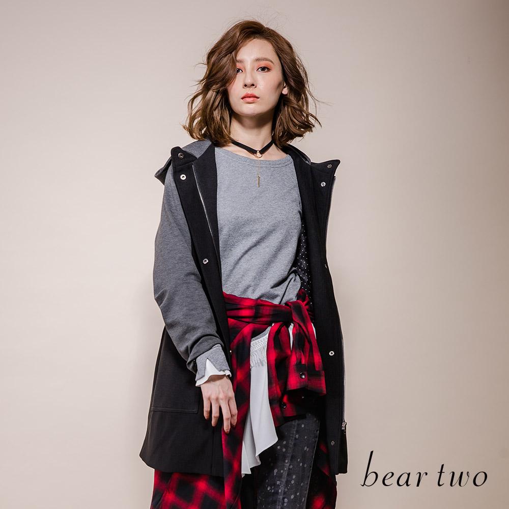 beartwo 休閒連帽拼色大衣外套(二色)