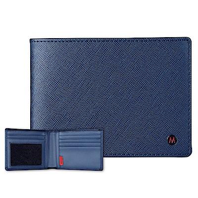 MONDAINE 瑞士國鐵國徽系列十字紋牛皮視窗8卡短夾–藍