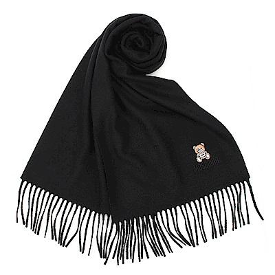MOSCHINO 經典刺繡TOY小熊羊毛圍巾-黑色