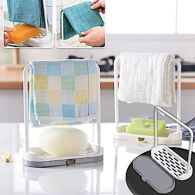 EZlife創意廚房抹布海綿瀝水架2入組(贈防黴靜電貼)