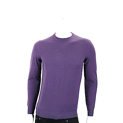 Andre Maurice 喀什米爾紫色圓領羅紋細節羊毛衫(男款)