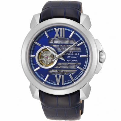 SEIKO精工  Premier百米防水鏤空機械錶(SSA399J1)
