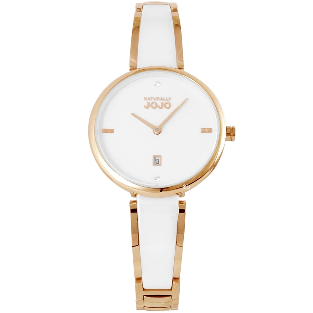 NATURALLY JOJO 質感晶鑽陶瓷手錶-白X玫瑰金/30mm