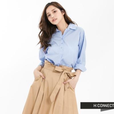 H:CONNECT 韓國品牌 女裝 - 單排釦七分袖襯衫 - 藍(快)