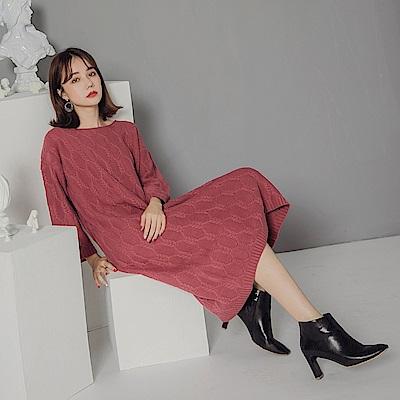 純色編織麻花針織長袖洋裝-OB大尺碼