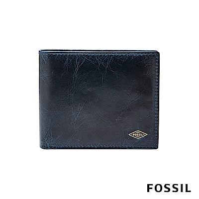 FOSSIL RYAN 簡約LOGO款男夾-藍色