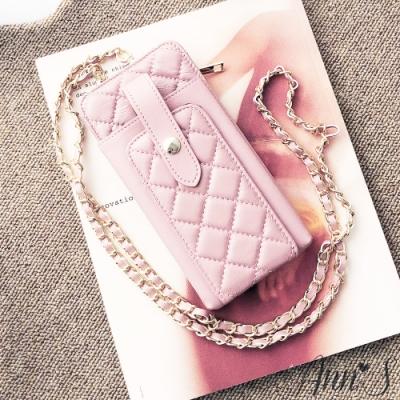 Ann'S小羊皮優雅菱格手機皮夾包-粉