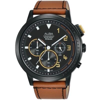 ALBA雅柏 潮流三眼計時手錶(AT3F39X1)-黑x咖啡/44mm