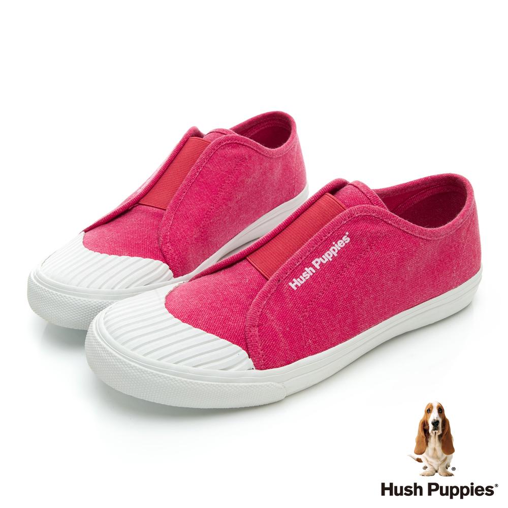 Hush Puppies 簡約貝殼頭懶人便鞋-粉橘紅