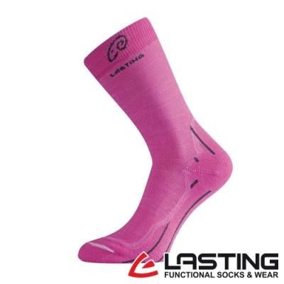 【LASTING捷克】女款美麗諾羊毛抗菌除臭吸濕排汗中筒襪/運動襪LT-WHI桃紅