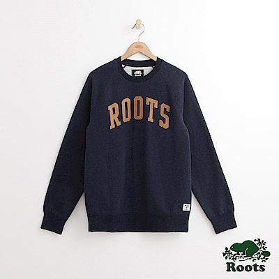 Roots 男裝-拱形字標圓領上衣-深藍色