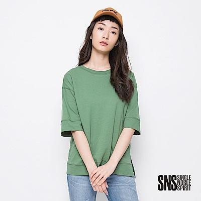 SNS 復古況味縫線落肩七分袖上衣(3色)
