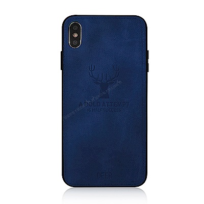 VXTRA iPhone Xs / X 5.8吋 北歐鹿紋防滑手機殼(黑潮深藍)