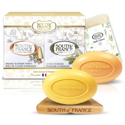 South of France 南法馬賽皂蜂蜜檸檬奢華組170g x2(贈皂盤+沐浴手套)