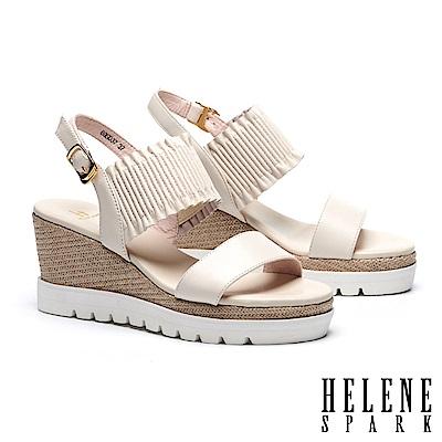 涼鞋 HELENE SPARK 簡約質感抓皺羊皮繫帶編織楔型涼鞋-米