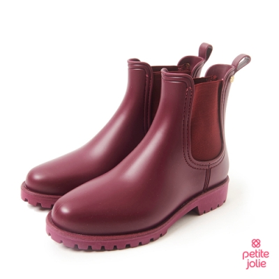 Petite Jolie-經典風尚切爾西短靴-紫紅